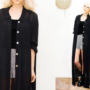 Sheer Black Long Blouse • Duster Maxi Dress / Goth / grunge / Collared / Sheer / See thru / lace /