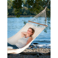 1-Person Organic Cotton Hammock with Timber Spreader Bar