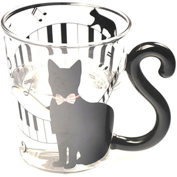 CUTE CREATIVE BLACK CAT KITTY GLASS MUG TEA MILK COFFEE CUP ESPRESSO LATTE SETS UNIQUE BIRTHDAY GIFT GLASS COUPLES CUP DRINKWARE