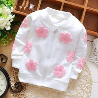 Girls Sweaters 0--12 M Spring cotton hoodie jacket: