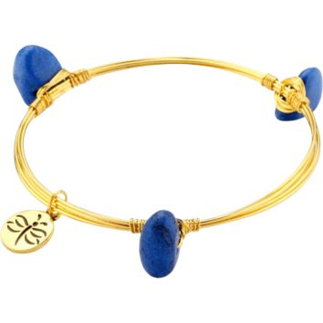 Crystal Wire Bangle Dark Blue Stones