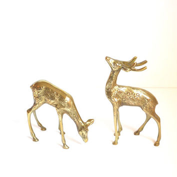 Vintage Brass Deer Figurines Rustic Deer Reindeer Woodland Animal Figurines Pair of Brass Deer Statues Christmas Decorations