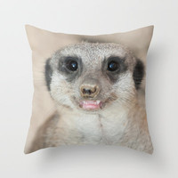 Smile Please Baby Meerkat  Throw Pillow by Karl Wilson Photography