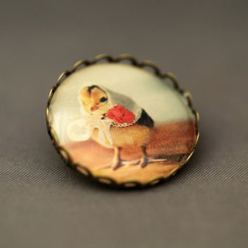 Photo Brooch of A Chick In A Vintage White Kerchief Antique Bronze Pin