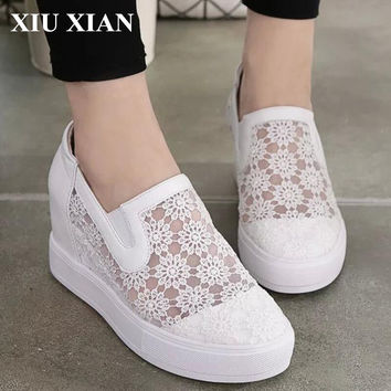 Fashion Women Casual Shoes Spring Summer Round Toe Height Increase Platform Shoes Flats Air Mesh Breathable Loafer Zapatos Mujer
