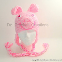 CROCHET PATTERN Pig Earflap hat INSTANT Download / Crochet Pattern Pig hat / Pig Crochet Photo prop earflap beanie / Hat