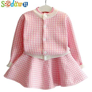 Sodwan 2017 New Spring Autumn Fashion Baby Girl Clothes Long Sleeve Grid Knitting Cardigan+Skirt 2Pcs Girls Clothes Suit