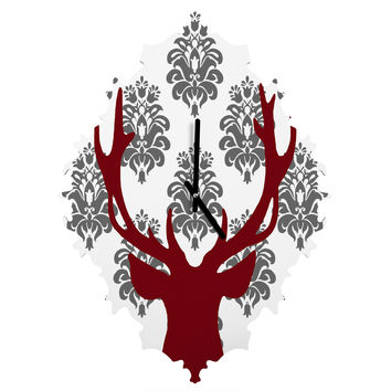 Natt Deer Damask White Baroque Clock