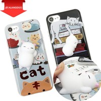 ALANGDUO Squishi Phone Case for iPhone 7 7 plus 3D Cute Soft Silicone Pappy Squishy Cat for i6 6s plus Kitty Cover Housing Coque