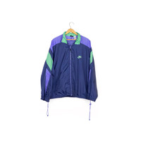 90s NIKE windbreaker jacket / vintage 1990s / colorblock / nylon / blue and green / shell / packable / athletic / running / mens L -XL