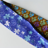 Reversible Headband for Women - Blue Fabric Headband - Cotton Head band - Fashion Headband - Teen Headband - Floral Print Headband -