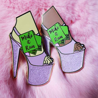 MAKE IT RAIN gold pink  glitter hard enamel pin Pleaser Stripper Pole Dancing Dollars Heels Slay Gogo One pin
