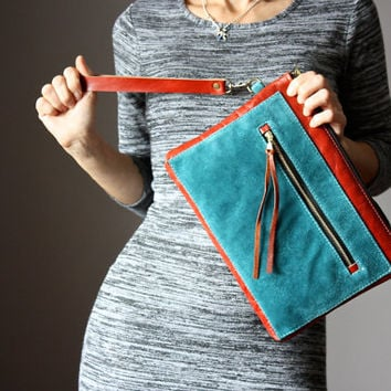 Zipper leather clutch, spice and teal leather purse, suede clutch, zipper clutch / purse, wrist strap, multi pockets clutch