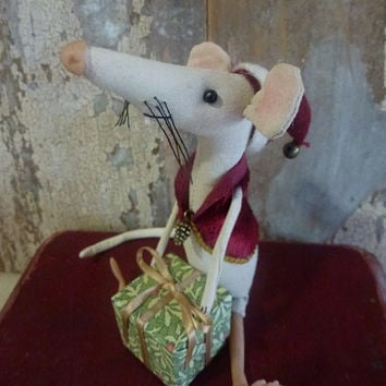 MADE TO ORDER Christmas rat: vintage style, soft sculpture, hand painted, fabric art doll animal, artist bear (mouse, rat).