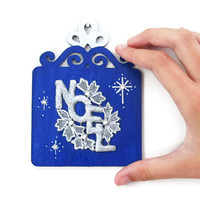 Small Noel Sign in royal blue and silver French Christmas home decor holiday wall plaque hand painted wooden plaque door sign