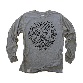 Nautical Swallow: Tri-Blend Long Sleeve T-Shirt in Heather Grey