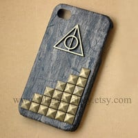 Harry Potter Deathly Hallows Iphone 4 Case, Black Wood Iphone Case with Bronze Studs, For iphone 4, Iphone 4s, Iphone 4g