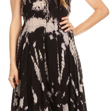 Sakkas Mathilde  Marble Tie-dye Sleeveless Tank Dress Tiered and Corset