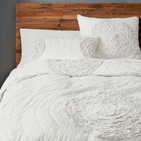 Ruffled Circles Quilt + Shams - Stone White