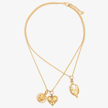 gold metallic trio heart necklaces