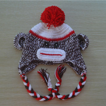 Crochet Sock Monkey Red Baby Beanie/ Hat