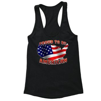 XtraFly Apparel Women's USA Map Proud to be American Pride Racer-back Tank-Top