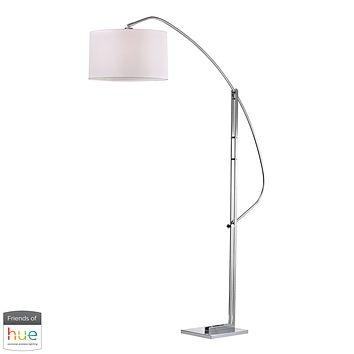 Assissi Adjustable Floor Lamp in Polished Nickel - with Philips Hue LED Bulb/Bridge