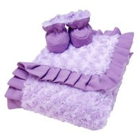Trend Lab Lilac & Plum Blanket & Reversible Booties Set (Purple)