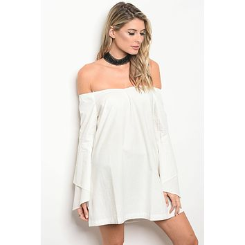 Flowy Sleeved Off the Shoulder Mini Dress - Off White