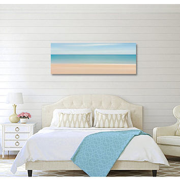 Caribbean Beach Panorama Canvas Gallery Wrap Aqua Teal Turquoise Blue Beige Abstract Ocean Sea Oversized Print Large Wall Art Coastal Decor