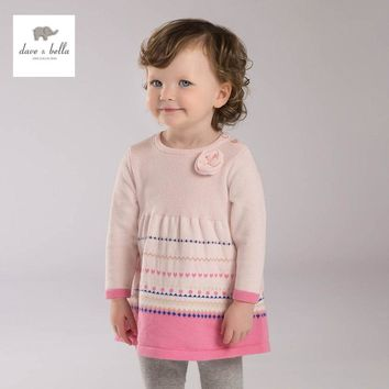Dave & Bella spring girls knitted dress striped pink dress fancy dress baby girls boutique dress