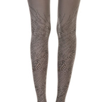Love Text Print Tights Grey - Zohara Tights - TrendyLegs