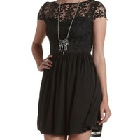 Black Crochet & Mesh Skater Dress by Charlotte Russe