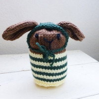 Knit puppy, knit amigurumi, knit animal, stuffed animal, puppy dog, knit doll, baby gift, ready to ship, handmade, brown puppy, toy puppy