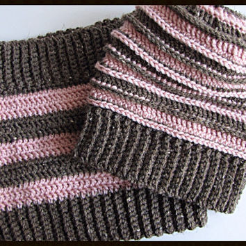 Textured Crochet Slouchy Hat & Cowl Set // Pink and Brown Stripes // Ready to Ship // Ribbed Edges // Stretchy Edges // Unique Construction