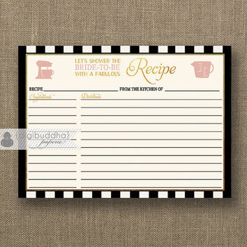 Black stripe Recipe Card INSTANT DOWNLOAD Shabby Chic Blush Pink Bloom Gold Bridal Shower 4x6 DIY Printable or Printed Fill-In - Madison