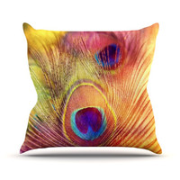 "Sylvia Cook ""Peacock Feather"" Throw Pillow"