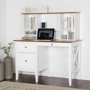 Belham Living Hampton Desk with Optional Hutch - White/Oak | Hayneedle