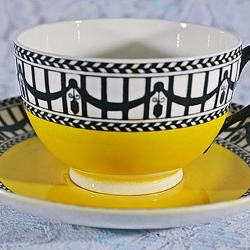 FREE SHIPPING Royal Worcester Teacup And Saucer, Art Deco, Yellow And Black Cup And Saucer