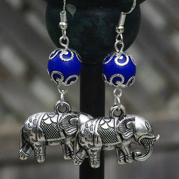 Tibetan Silver Elephant and Turkey Blue Turquoise Earrings ~ Dangle Earrings ~ Indian Elephant Earrings ~ Semi Precious Stone ~ Boho Jewelry