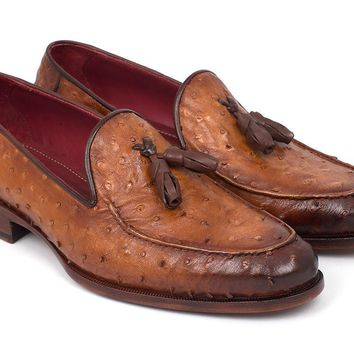Paul Parkman (FREE Shipping) Camel Brown Genuine Ostrich Tassel Loafers (ID#OST834CML)