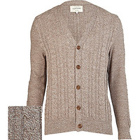 River Island MensBrown cable knit V neck cardigan