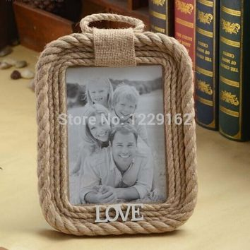 Free Shipping Zakka Vintage Hemp Rope Photo Frame Retro picture frame Home decoration/ creative gift