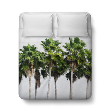 Sand Key Palms - Duvet Cover, Beach Surf Style Palm Trees Accent, Tropical Green Home Decor Bedroom Bed Blanket Throw. Twin Full Queen King
