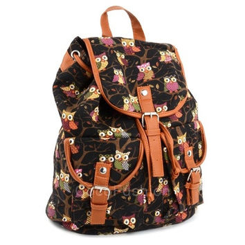 Women Cute Cartoon Owls Pattern Canvas Backpack Shoulder Bag Students Schoolbag Book Bag CFC [8081695239]