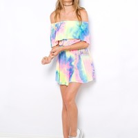 Paddlepop Dress - rainbow tie-dye off the shoulder dress