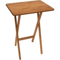 Natural Finish Bamboo Wood TV Table Tray Coffee Table