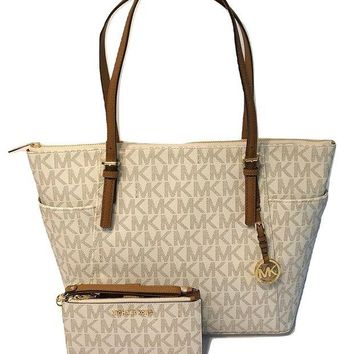 ONETOW MICHAEL Michael Kors Large East West TZ Tote bundled with Michael Kors Jet Set Travel Double Zip Wallet Wristlet