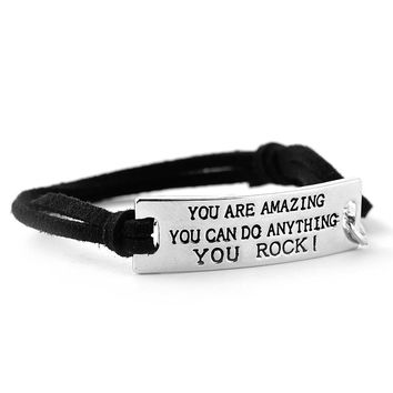 "Inspirational quote leather bracelet ""you are amazing"""
