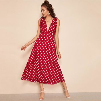 Tie Shoulder Plunging Neck Polka Dot Maxi Dress Women Sleeveless Deep V Neck Sexy Dress High Waist A Line Dress